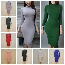 Stylish Women Turtle Neck Long Sleeve Casual Bodycon Stretch Party Midi Dresses