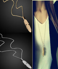 Women Long Chain Sweater Vintage Feather Pendant Necklace Statement Jewelry CHI
