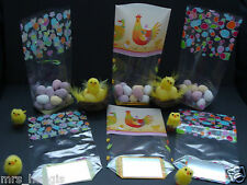 CELLO EASTER TREAT BAGS - EASTER EGGS, CHICKS & CHICKENS, LOVEHEARTS & CHICKS