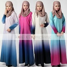 Muslim Kaftan Abaya Jilbab Islamic Gradien Long Sleeve Maxi Dress Arab Clothes