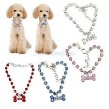 New Crystal Diamante Bone Rhinestone Pendant Pet Necklace Collar Dog Jewelry