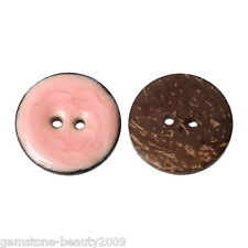 Wholesale HOT 2 Holes Enamel Pink Coconut Shell Buttons Fit Sewing 25mm