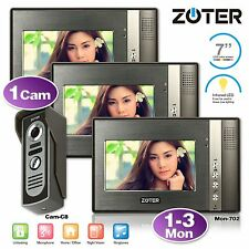 """Wired 7"""" LCD Video Door Phone Metal Camera Home Entry System 1-3 Unit"""