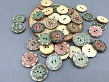 Mixed Retro Round Wooden buttons sewing scrapbook decoration 2 hole 20mm