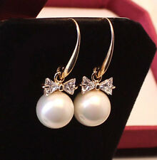 Women Pearl Lady Elegant 1 Pair Crystal Rhinestone Ear Stud Earrings Gift