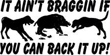 Hog and Hog Dogs, With Words Wild Boar Hunting Auto Decals, Vinyl Window Sticker