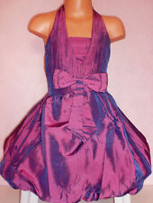 GIRLS PURPLE BOW TRIM PUFFBALL BRIDESMAID SPECIAL OCCASION PROM PARTY DRESS