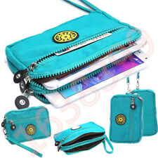 Multi-function Turquoise Wallet Phone Wrist Bag 3 Layer Zip Money Cosmetic Purse