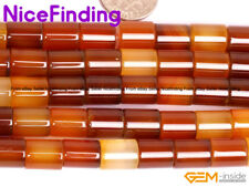 Natural Agate Red Carnelian Gemstone Beads For Jewelry Making Tube Beads Lot DIY