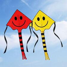 NEW Smiley Kite Smiling Face Kite for Kids with Handle Line Outdoor Sports Z0F5