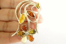 Flowers Leaves Poland Baltic Amber 925 Sterling Silver Pendant