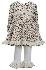 Bonnie Jean Baby Girl Ivory Brown Leopard Sweater Dress Legging Outfit 12M - 24M