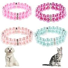 Pets Faux Pearl Necklace Charm 2 Rows Puppy Collar Grooming Jewelry 4 Colors S-L