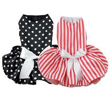 Small Pet Dog Princess New Polka Dot Ribbon Dress Clothes Cozy Shirt Party Dress