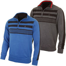 Calvin Klein Golf 2015 Mens Stripe Block Lined Half Zip Sweater Jumper Pullover
