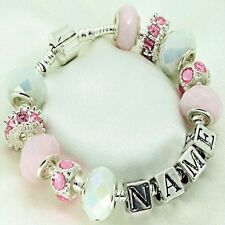 Pink & White Personalised Charm Bracelet ANY NAME Ladies Girls BIRTHDAY Gift
