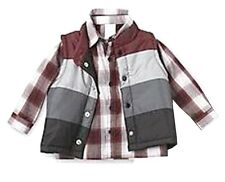 New! WonderKids Burgundy 2 pc. Set Vest & Woven Shirt Infant Boys 12 Months