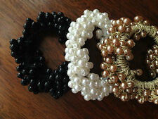New Fashion Lady Women Pearl Beads Hair Band Rope Scrunchie Ponytail Holder
