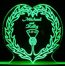 Personalized Wedding Cake Topper Irish Claddagh Optional light Base in 9 cols