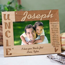 Personalized Uncle Picture Frame Engraved Wood Photo Frame for Uncle with Verse