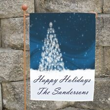 Personalized Christmas Garden Flag White Christmas Tree Holiday Banner Flag