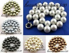 "X0154 18"" 14mm round south sea shell pearl necklace"