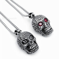 Men Gothic Skull Red Black CZ Biker Pendant w/ Stainless Steel Necklace Chain