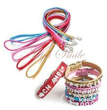 Personalized Pet Dog Cat Collar Leash Set Bling Rhinestone Letters Charms Name