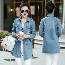 Women's Girl Classic Denim Style Casual  Jean Jacket Coat Parka Slim