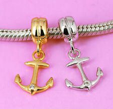 SOLID Sterling Silver Rhodium or Vermeil Gold CZ Anchor BEAD Fit Charm Bracelet