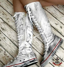 20 Hole Punk Rock Laceup Knee Hi Dirty Ink Grease Distressed Grunge Sneaker Boot