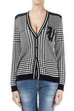 EMANUEL UNGARO Women Black & White Cardigan with Silk Inserts Made in Italy