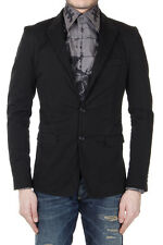 DOLCE & GABBANA Men Black Stretch Cotton Single Breasted Blazer Made in Italy