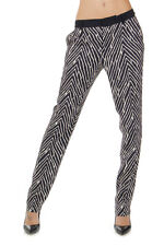 EMANUEL UNGARO Women Black and White Stretch Patterned Pants Made in Italy