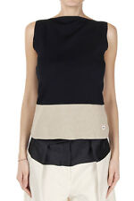 BALENCIAGA Women Black and Beige Linen Mixed Stretch Top Made in Italy
