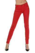 BURBERRY BRIT Women New Red Cotton Stretch SKINNY Trousers Pants
