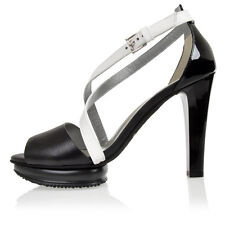 HOGAN Women White Black Patent Leather Sandals with Strap Italy Made