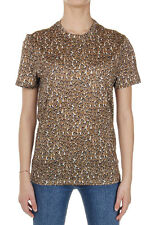 MONCLER Women Cotton Round Neck Patterned T-Shirt Made in Italy New