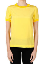 MOSCHINO COUTURE! Women Yellow Round Neck Silk T-Shirt Made in Italy