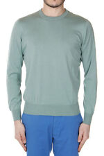 BRUNELLO CUCINELLI Men New Green Cotton Crewneck Sweater Made in Italy