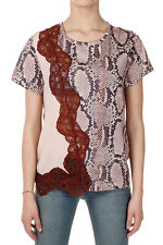 STELLA MCCARTNEY Women Pink Reptil Printed Cotton and Silk T-Shirt New