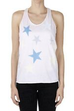 STELLA MCCARTNEY Women White Cotton Stars Printed Tank Top Made in Italy New