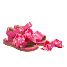 Squeaky Leather Clip On Sandals Hot Pink Toddler Size 1-7