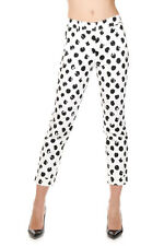 DOLCE & GABBANA Women Black White Polka Dots Trouser Stretch Cotton Italy Made