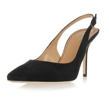 DSQUARED2 Dsquared² Women Black Suede Slingback Shoe with Heel Made in Italy