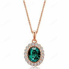 Women Wedding Colorful Austrian Crystal Pendant 18k Gold Plated Necklace 5Color