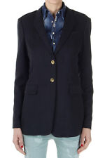 BURBERRY BRIT Women Blue Cotton Single Breasted Lined Blazer New with Tag