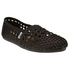 New Womens Toms Black Classic Textile Shoes Canvas Slip On
