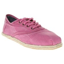 New Womens Toms Pink Cordones Canvas Shoes Lace Up Slip On