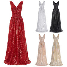 Long Shinny Sequined Bridesmaid Formal Gown Party Cocktail Evening Prom Dress